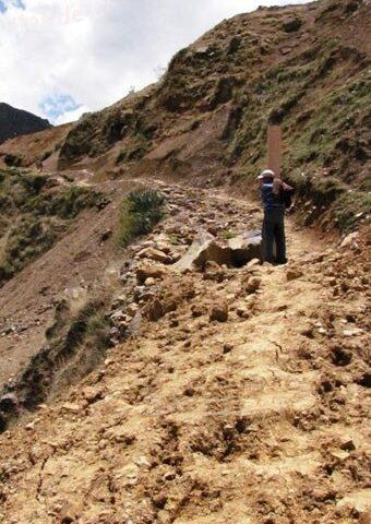 Minería ilegal destruye Camino Inca en zona de Cachicadan, Santiago de Chuco, La Libertad