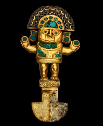 TUMI, cuchillo ceremonial de oro con turquesa