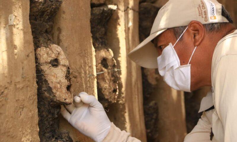 Nuevos hallazgos en Chan Chan:  ídolos de madera y decoración mural